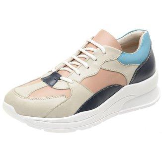 Tênis Dad Sneakers Miuzzi Couro Feminino Tendencia Leveza