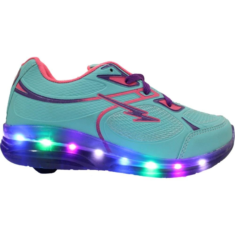Tênis LED de Infantil com e Rodinha Minipé Azul Roxo rqrTS