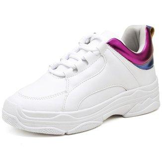 Tênis Feminino Chunky Sneaker Flatform Metalizado Moderno