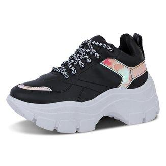 Tênis Feminino Sneaker Plataforma Preto