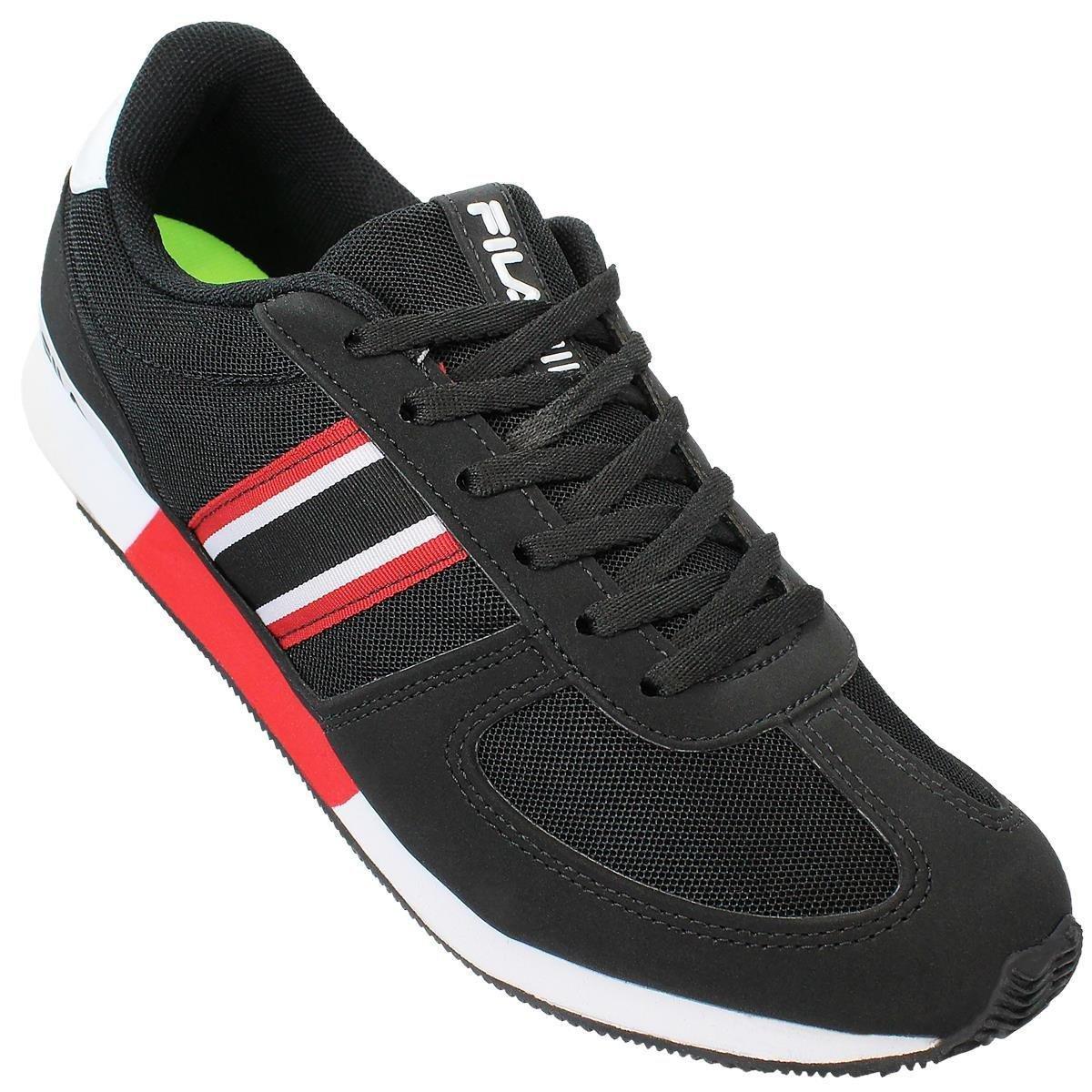 4a6d11b69a Tênis Fila Jogging Retro Sport Masculino - Preto e Vermelho - Compre .
