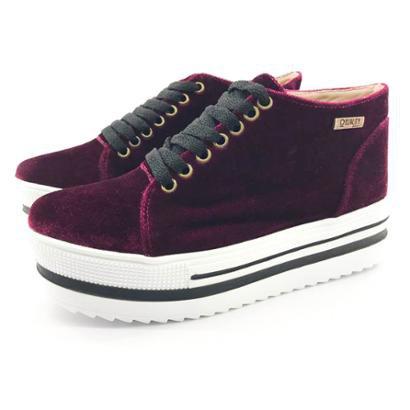 Tênis Flatform Quality Shoes Veludo Bordô Sola Alta com Detalhe Feminina