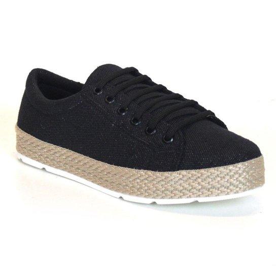 Tênis Flatform Tag Shoes Lona Cadarço Conforto Feminino - Preto