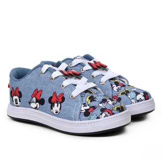 Tênis Infantil Disney Minnie Fashion Jeans Feminino