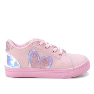 Tênis Infantil Kurz Coração Glitter Feminino