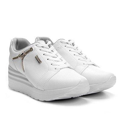 f8b71d5a595 Tênis Kolosh Sneaker Anabela Zíper Lateral Feminina - Branco - Compre Agora