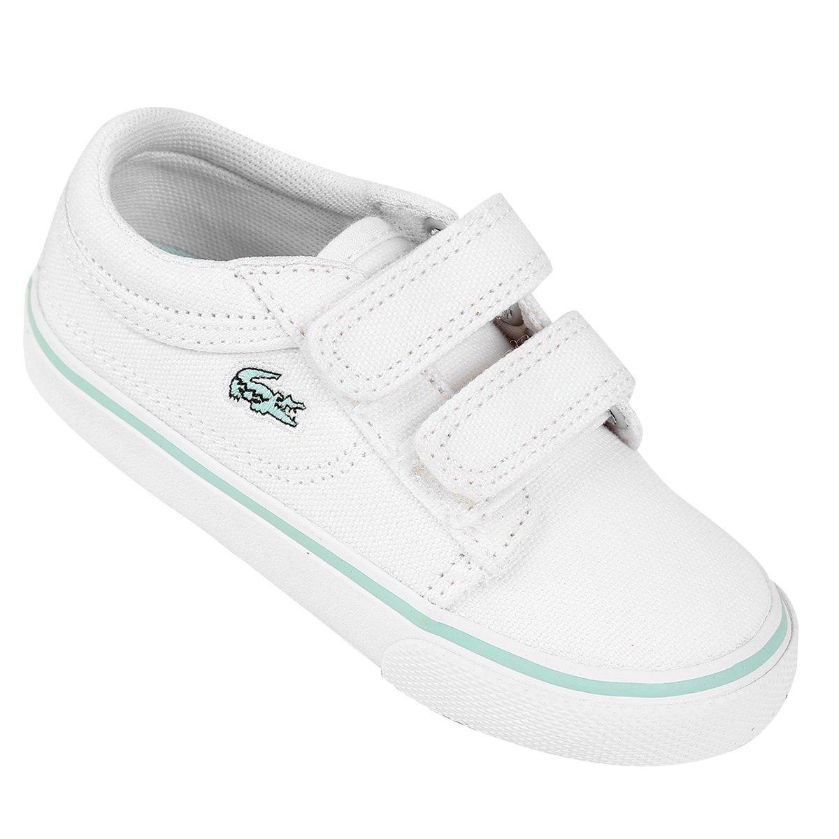 ... Agora Netshoes  e61f6891128 Tênis Lacoste Vaultstar Ppg Infantil -  Branco e Verde Água - Compre . cfee5a02a9