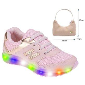 Tênis Led Light Star + Bolsinha Infantil Feminino Luzinhas que Acendem