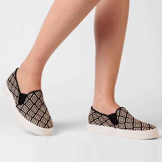 Tênis My Shoes Slip On Estampado - Preto
