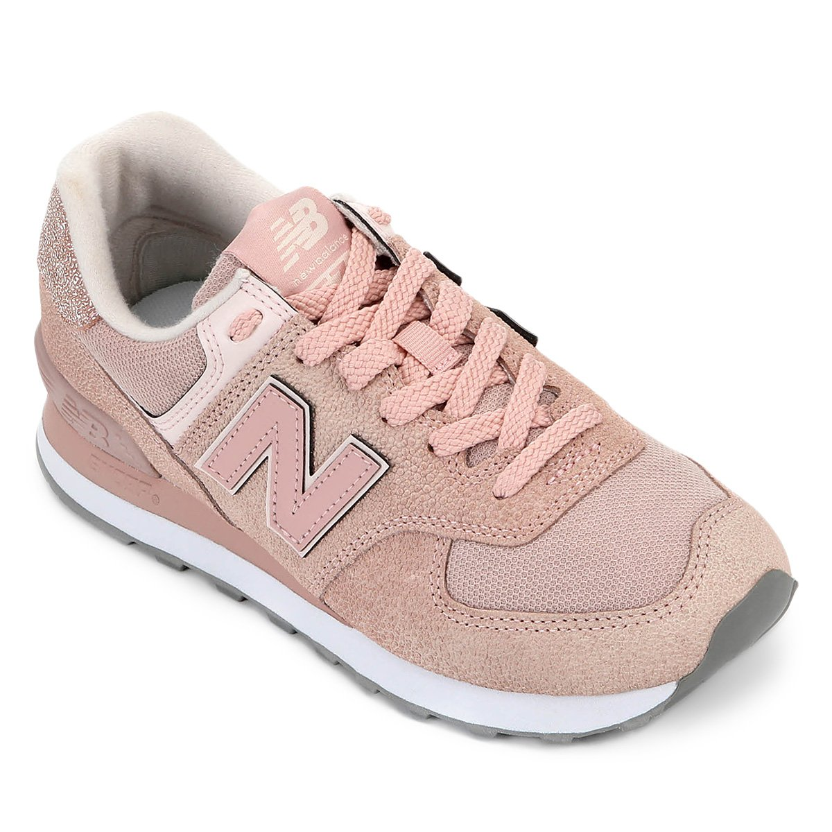 new product 87234 8aec8 Tênis New Balance 574 Feminino - Rosa e Branco