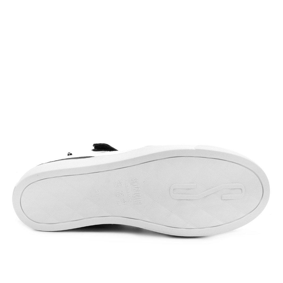 Tênis Santa Lolla Amarração Velcro Feminino - Preto e Branco