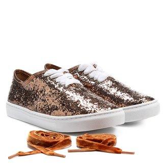 Tênis Shoestock Glitter Laço Veludo