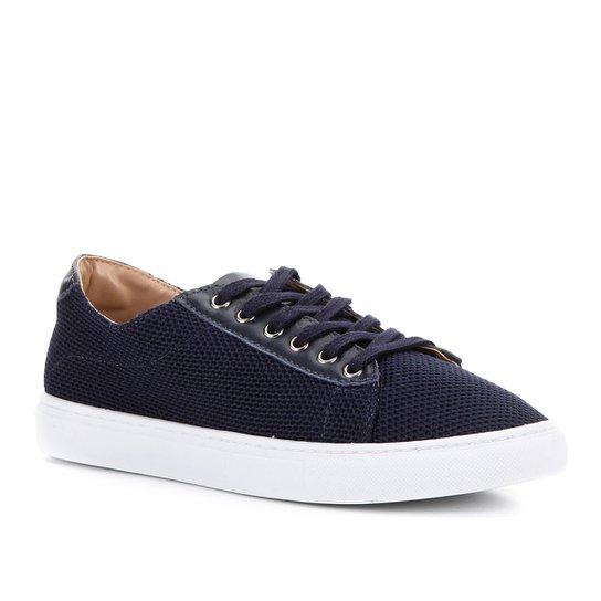 Tênis Shoestock Tricot Couro - Marinho