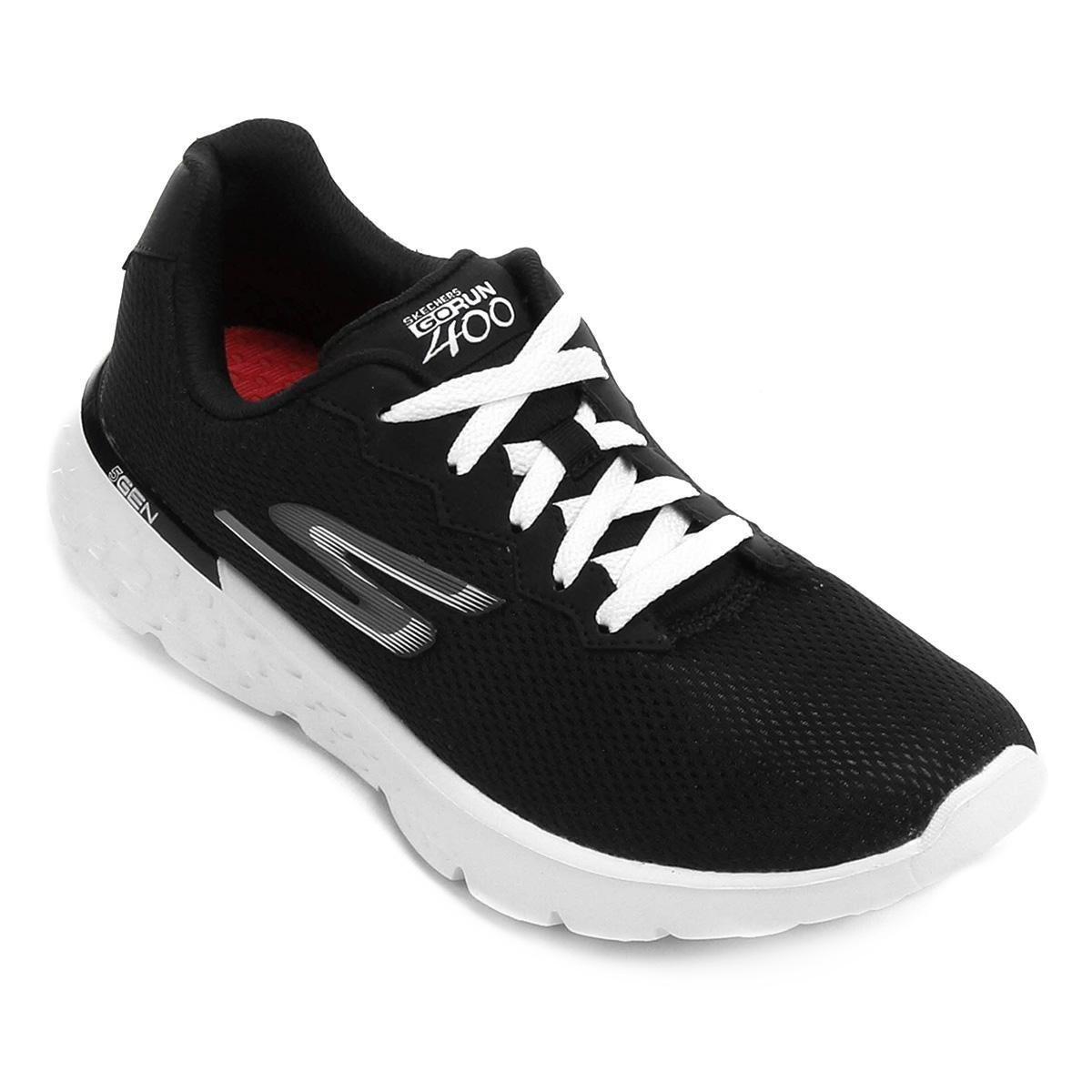 Tênis Skechers Go Run 400 Feminino - Preto e Branco - Compre Agora ... b8c60b80b750b