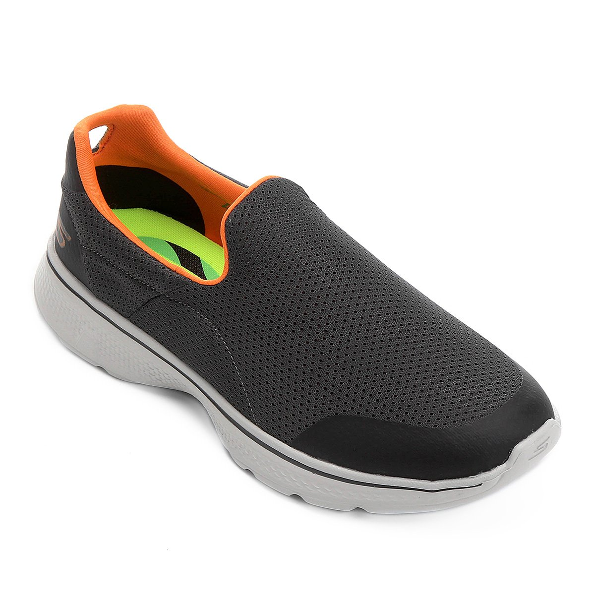 Tênis Skechers GOwalk 4 - Incredible Masculino - Cinza e Laranja ... 83561b5875867