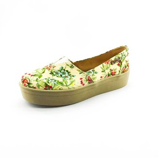 Tênis Slip On Flatform Quality Shoes Flatform Floral  Feminino