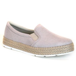 Tênis Slip On Flatform Tag Shoes Lona Estilo Feminino