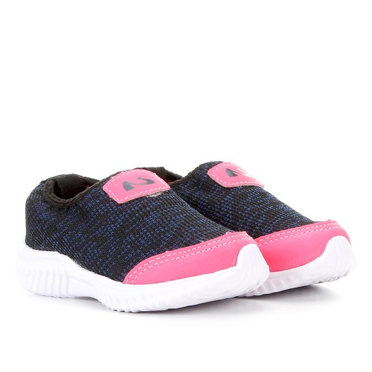 Tênis Slip On Infantil No Stress Feminino - Marinho+Pink