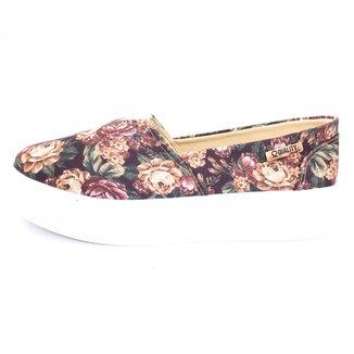 Tênis  Slip On Quality Shoes Flatform Floral Feminino