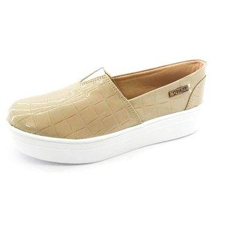 Tênis Slip On Quality Shoes Flatform Verniz Croco Feminino