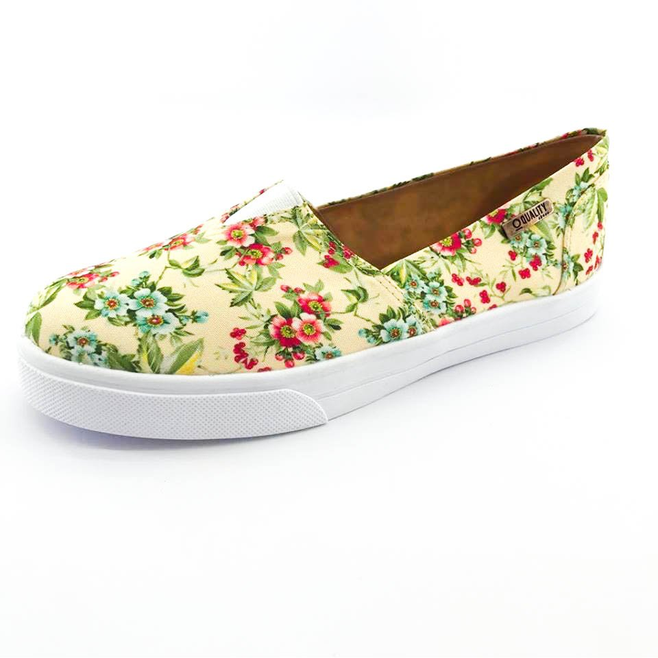 Quality Amarelo Shoes Feminino On Slip Shoes Tênis On Quality Tênis Floral Slip aqHwq