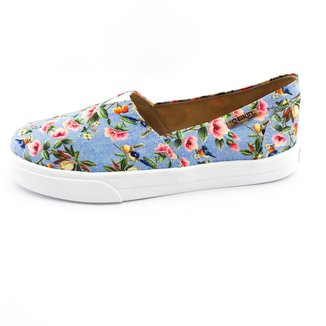 Tênis Slip On Quality Shoes Jeans Floral Feminino