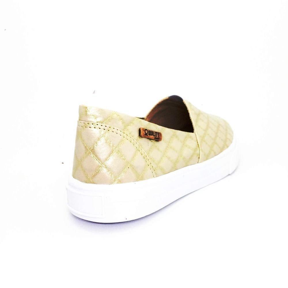Shoes Quality Feminino On Matelassê Tênis Tênis Slip Dourado Slip q7fTp