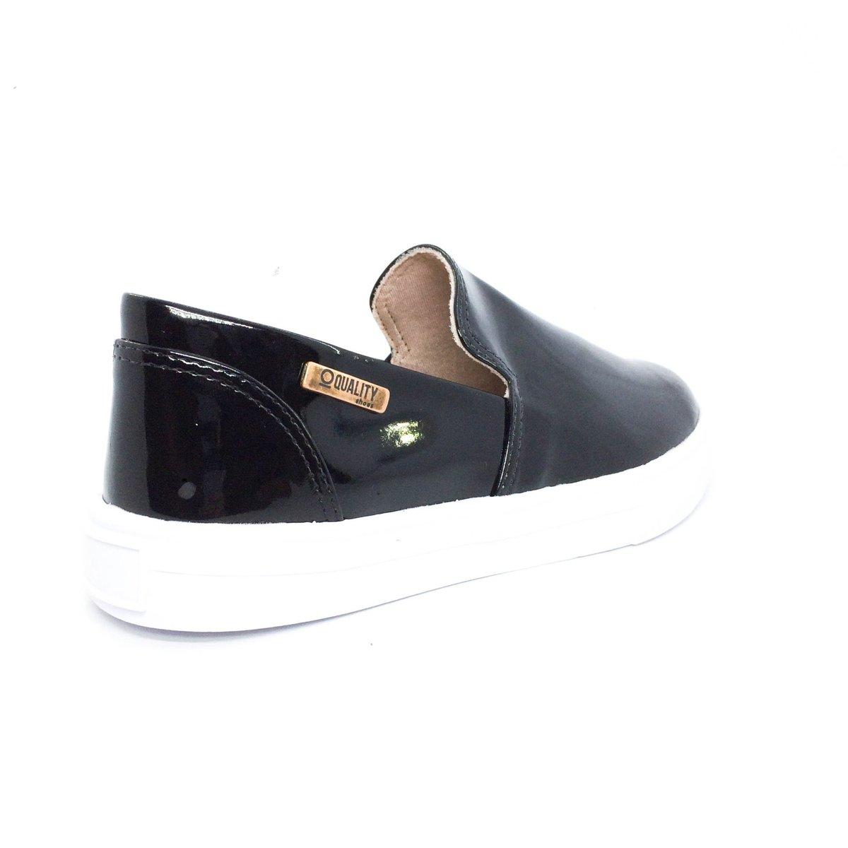 Verniz Tênis Feminino Tênis Slip Preto Shoes Slip Quality On On Quality qZT8Z7S