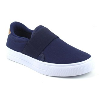 Tênis Slip On Tag Shoes Lona Elástico Macio Conforto Feminino