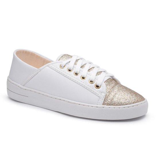 Tenis Top Franca Shoes   Com Glitter Feminino - Branco+Cobre