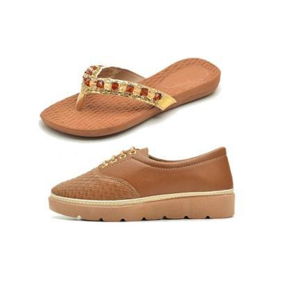 Tênis Tratorado Bico Fino + Chinelo Ousy Shoes Feminino