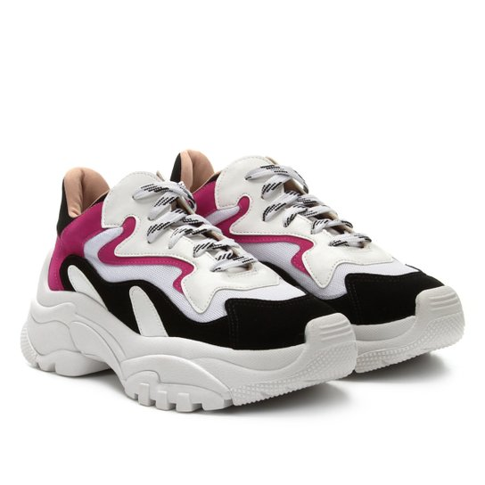 Tênis Zatz Chunky Recortes Feminino - Branco+Pink