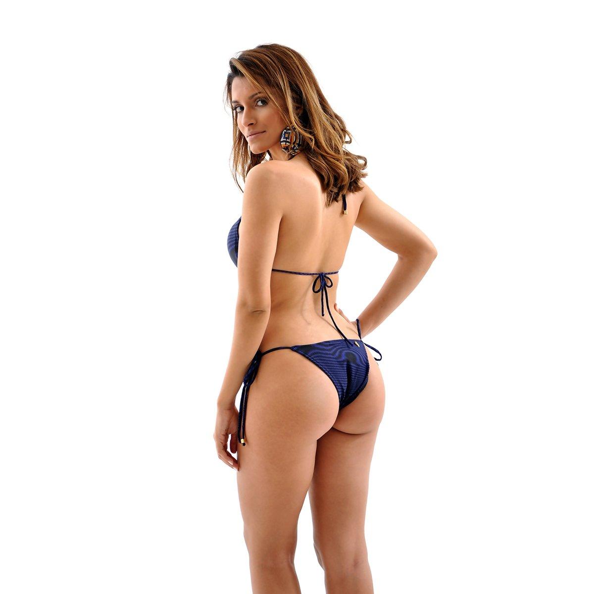 Top Biquini Mama Latina Paradise Florida Cortininha - Azul