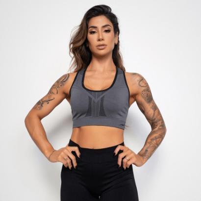 Top Fitness Dupla Face Sem Costura Feminino-Feminino