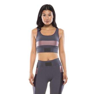 Top Fitness Mulher Elástica Color Block Feminino