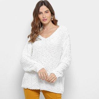 Tricot Facinelli Textura Gola V Feminino