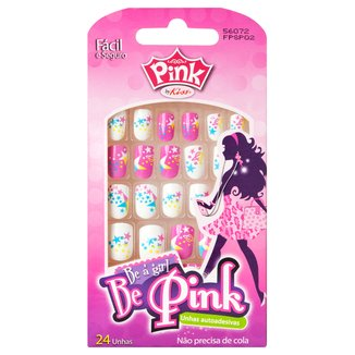 Unhas Postiças Infantil Autoadesiva Pink By Kiss New York