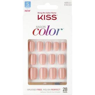 Unhas Postiças Kiss New York Salon Color Curto Cor Bonita