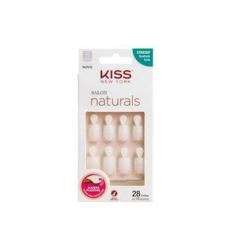 Unhas Postiças Naturais Kiss New York Salon Natural Curto Quadrado com Aba