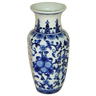 Vaso ceramica sextavado azurro
