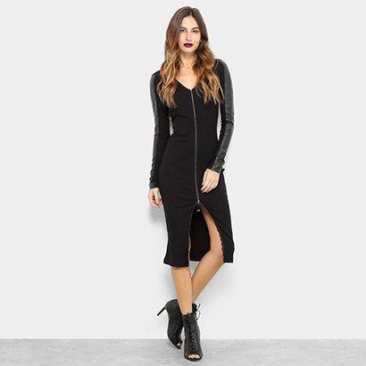 Vestido Acostamento Tubinho Midi Fashion-Feminino