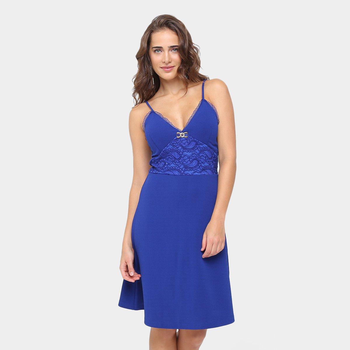 Vestido em renda azul marinho