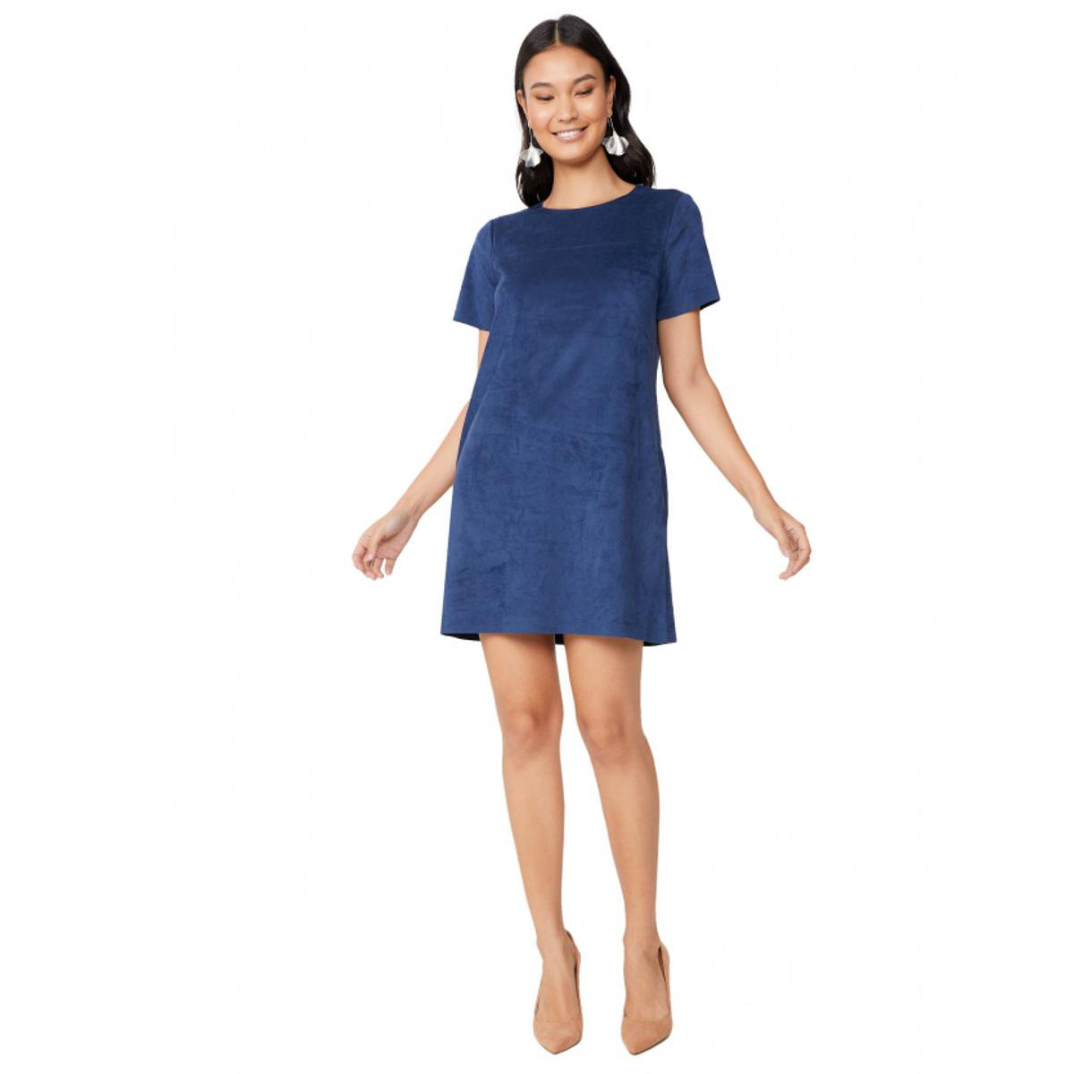 Vestido Amaro Curto Suede Bolsos Feminino Azul