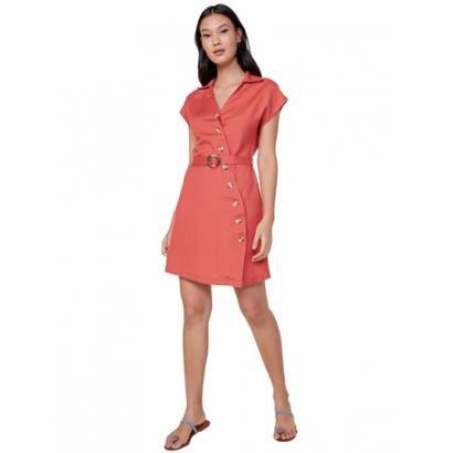 10327dcb1 Vestido Amaro Manga Curta Linho Com Botões-Feminino ...