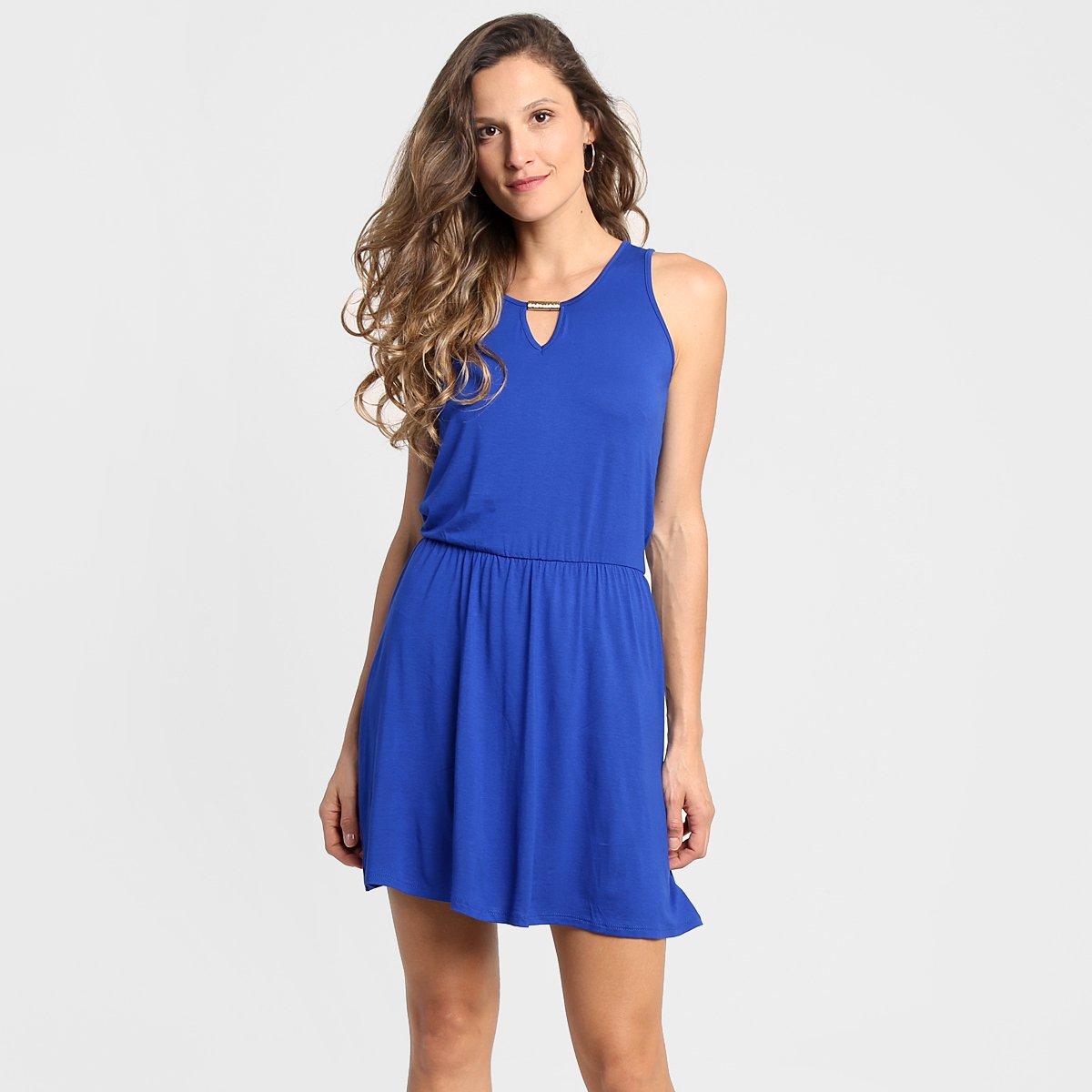 Vestido azul royal aberto nas costas