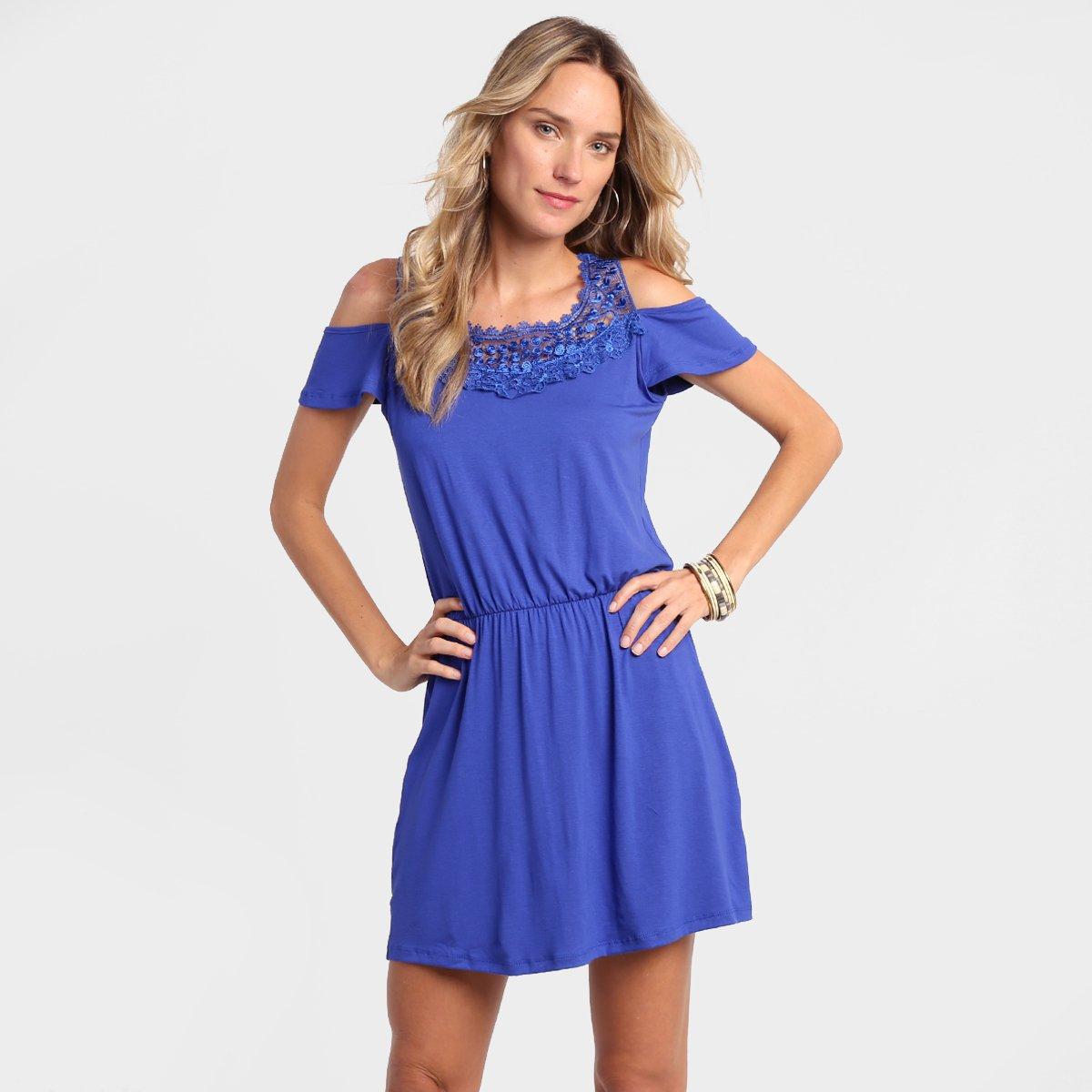 Vestido de guipir azul royal