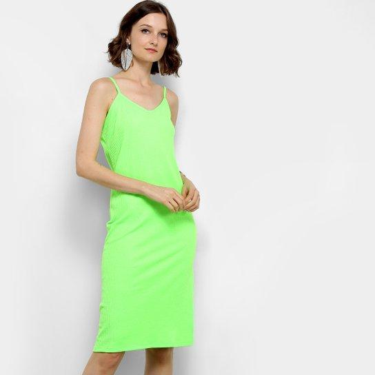 Vestido Aura Midi Tubinho Canelado Neon - Verde