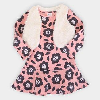 Vestido Bebê Elian Com Colete De Pelo Flor