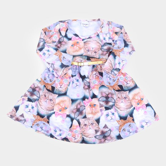 Vestido Bebê Fakini Manga Longa Molecotton Gatinhos + Cinto - Preto