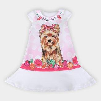 Vestido Bebê For Girl Crepe Sublimado Frutas York Com Strass